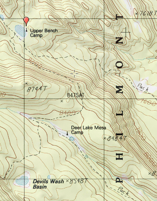 Philmont - Showing Pack Trails near Deer Lake Mesa and Upper Bench Camps
